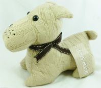 BEAUTIFUL CUTE AND PRACTICAL, BEIGE COLOURED KNITTED CUTE DOG HEAVY DOOR STOP